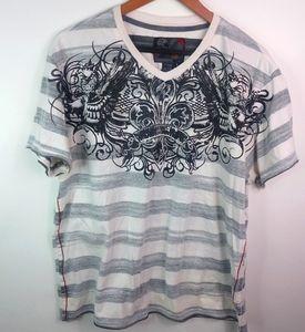 Point Zero Mens Gray Stripe Black Design Shirt L